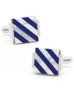 Floating Mother of Pearl Striped Cufflinks