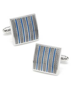 Gray and Blue Striped Square Cufflinks
