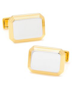 Sterling Silver Two Tone Rectangular Engravable Cufflinks